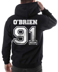 O`Brien 91 White Ink On Back Dylan Obrien Unisex Pullover Hoodie - Meh. Geek