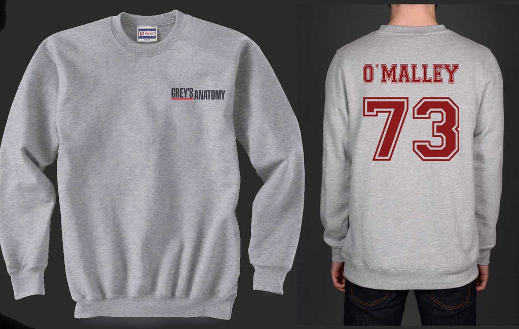 O`Malley 73 Maroon Ink on Back Greys Anatomy Logo Pocket on Front Unisex Crewneck Sweatshirt - Meh. Geek