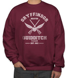 Customize - OLD Gryffindor BEATER Quidditch Team White Ink Unisex Crewneck Sweatshirt Maroon Adult