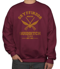 Customize - OLD Gryffindor BEATER Quidditch Team Unisex Crewneck Sweatshirt Maroon Adult