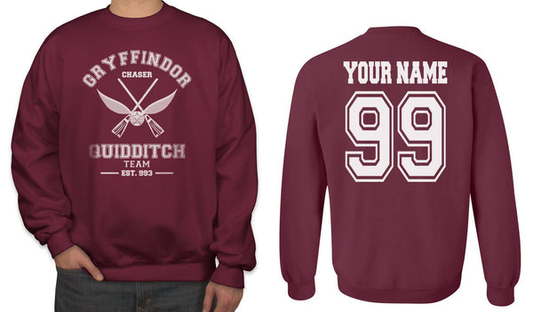 Customize - OLD Gryffindor CHASER Quidditch Team White Ink Unisex Crewneck Sweatshirt Maroon Adult
