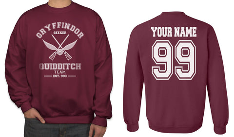 Customize - OLD Gryffindor SEEKER Quidditch Team White Ink Unisex Crewneck Sweatshirt Maroon Adult