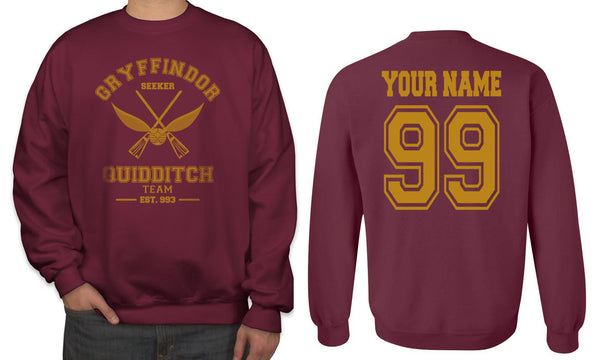 Customize - OLD Gryffindor SEEKER Quidditch Team Unisex Crewneck Sweatshirt Maroon Adult