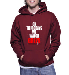 On Thursdays We Watch Greys on Front Greys Anatomy Unisex Pullover Hoodie - Meh. Geek
