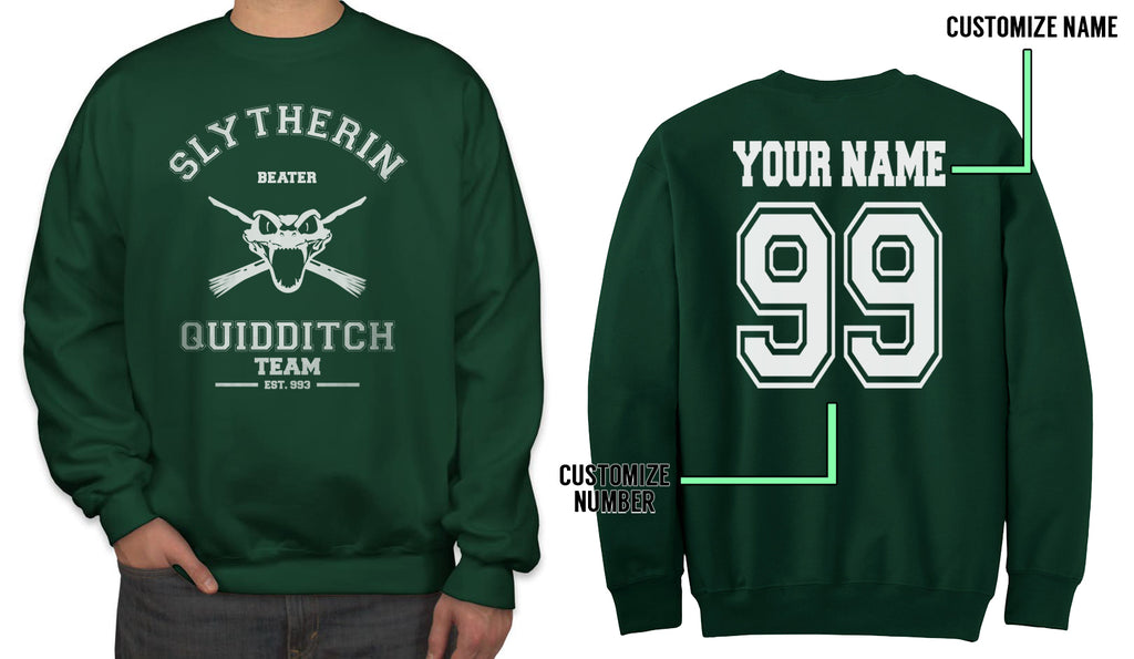 Customize - OLD Slytherin BEATER Quidditch Team Unisex Crewneck Sweatshirt (Adult)