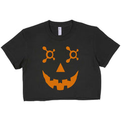 OTF Jack O Lantern Orange Women Crop Top, Crop Tee / T-shirt