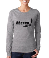 I'm a KEEPER On FRONT Harry potter Long sleeve T-shirt for Women