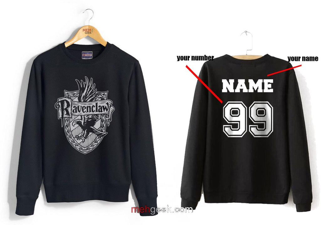 Customize - Ravenclaw Crest #2 White Unisex Crewneck Sweatshirt Black (Adult)