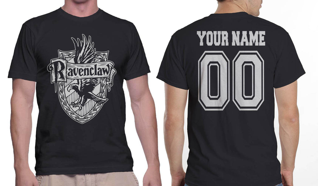 Customize - Ravenclaw Crest #2 White ink Men T-shirt tee Black