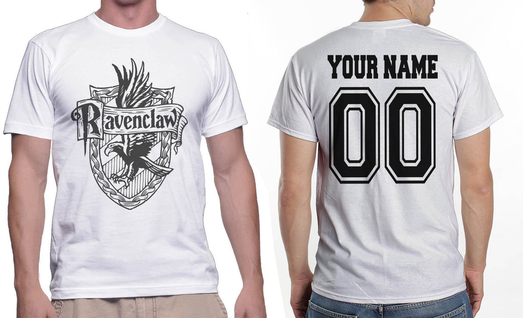 Customize - Ravenclaw Crest #2 Black ink Men T-shirt tee White