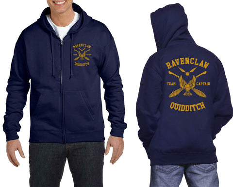 Ravenclaw CAPTAIN Quidditch Team Yellow Front and back Unisex Zip Up Hoodie PA New