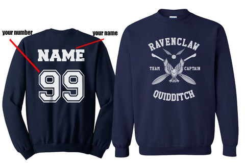 Customize - New Ravenclaw CAPTAIN Quidditch Team White Unisex Crewneck Sweatshirt Navy (Adult)