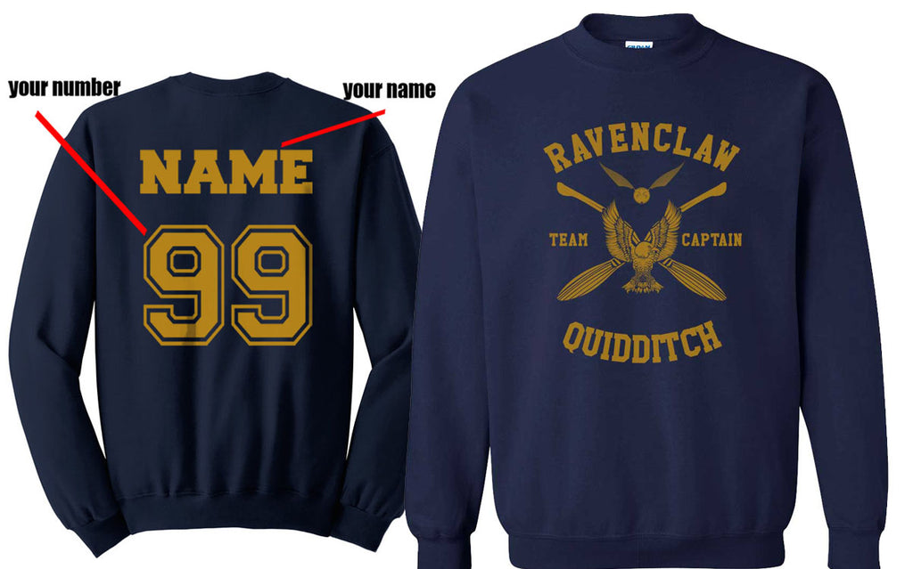 Customize - New Ravenclaw CAPTAIN Quidditch Team Yellow Unisex Crewneck Sweatshirt Navy (Adult)
