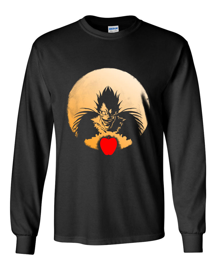 L Death Note Ryuk Apple Light Shinigami Manga Anime Long Sleeve T-shirt for Men - Meh. Geek