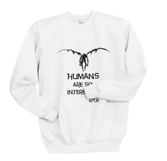 L Death Note Human Are So Interesting Shinigami Unisex Crewneck Sweatshirt - Meh. Geek