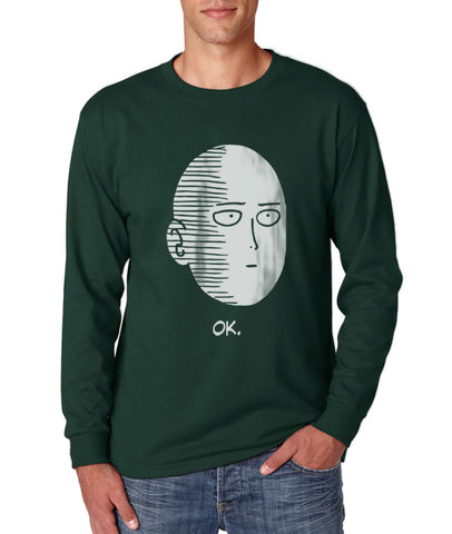 Saitama Face Ok Long Sleeve T-shirt for Men