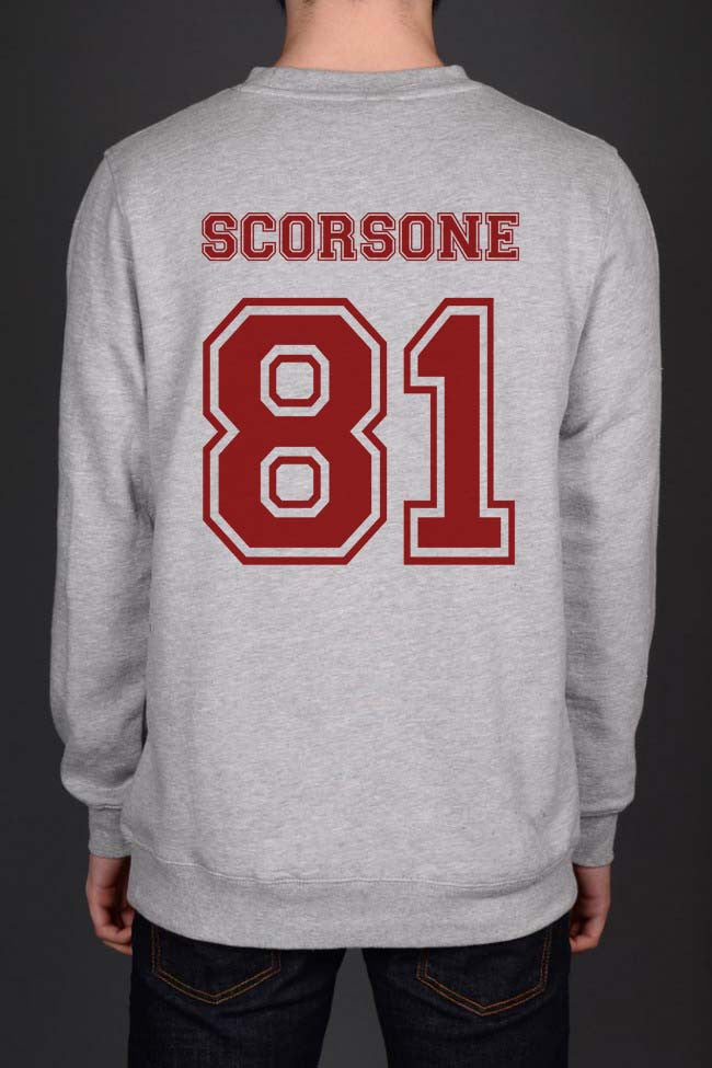 Scorsone 81 Maroon Ink on Back Caterina Scorsone Greys Anatomy Unisex Crewneck Sweatshirt - Meh. Geek