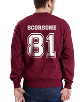 Scorsone 81 White Ink on Back Caterina Scorsone Greys Anatomy Unisex Crewneck Sweatshirt - Meh. Geek