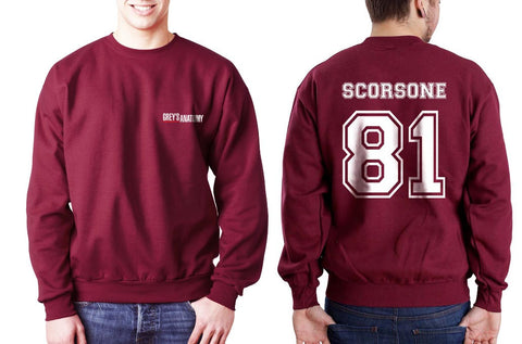 Scorsone 81 White Ink on Back Greys Anatomy Logo Pocket on Front Unisex Crewneck Sweatshirt - Meh. Geek
