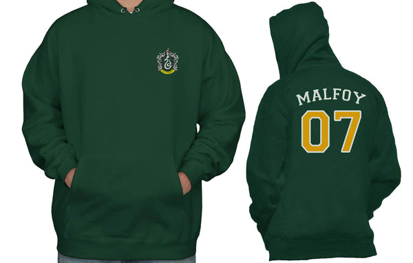 Malfoy 07 Yellow back Slytherin Crest #1 Unisex Pullover Hoodie