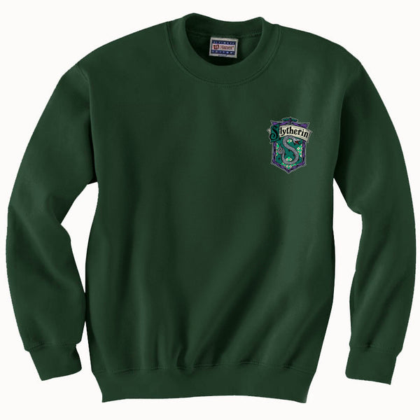 Slytherin Crest #2 Pocket Color Unisex Crewneck Sweatshirt PA Crest Adult