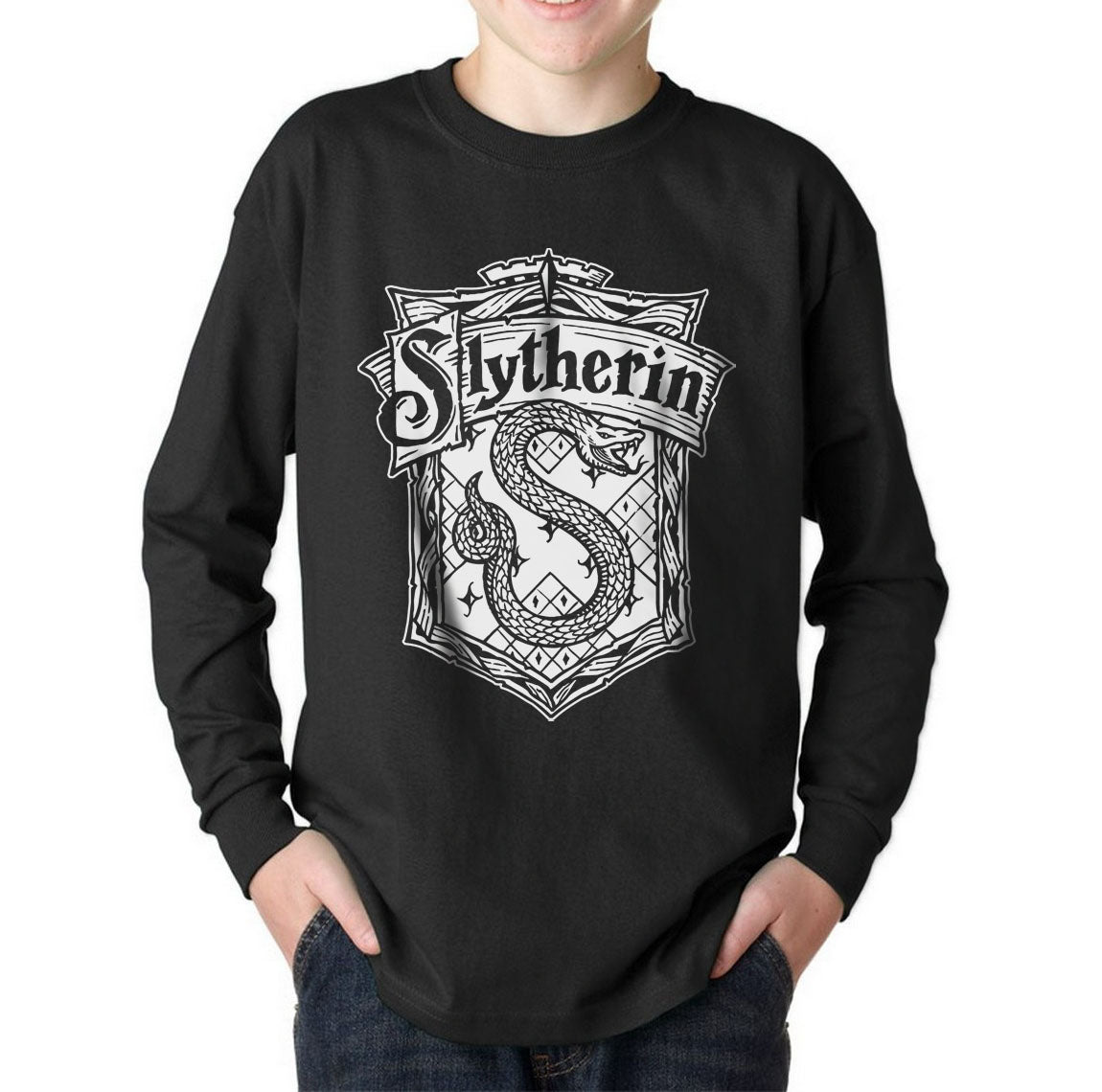 d3538b202dd4 Slytherin Crest #2 Bw Kid / Youth Long Sleeves T-shirt tee PA Crest – Meh.  Geek