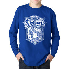 Slytherin Crest #2 Bw Kid / Youth Long Sleeves T-shirt tee PA Crest