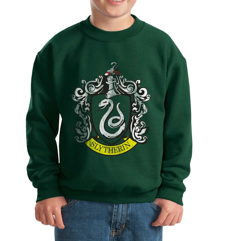 Slytherin Crest #1 Kid / Youth Crewneck Sweatshirt Forest PA Crest