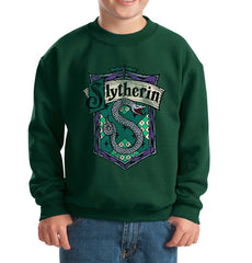Slytherin Crest #2 Kid / Youth Crewneck Sweatshirt Forest PA Crest