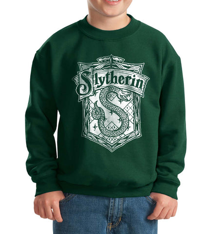 Slytherin Crest #2 Bw Kid / Youth Crewneck Sweatshirt Forest PA Crest
