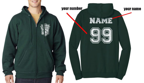 Customize - Slytherin #2 crest Bw Unisex Zip Up Hoodie