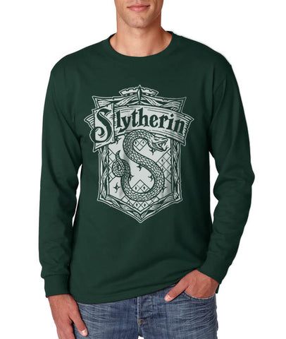 Slytherin Crest #2 Bw Long Sleeve T-shirt for Men PA Crest