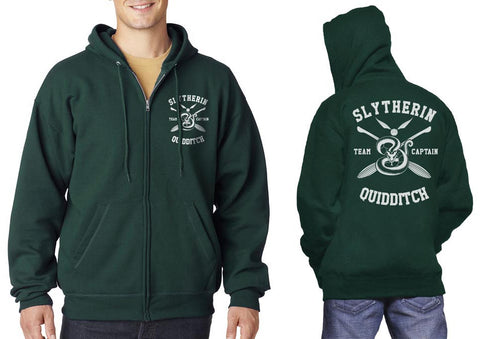 Slytherin CAPTAIN Quidditch Team Front and back Unisex Zip Up Hoodie PA New