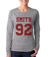 Smith 92 MAROON Ink On FRONT Sam Smith Long sleeve T-shirt for Women