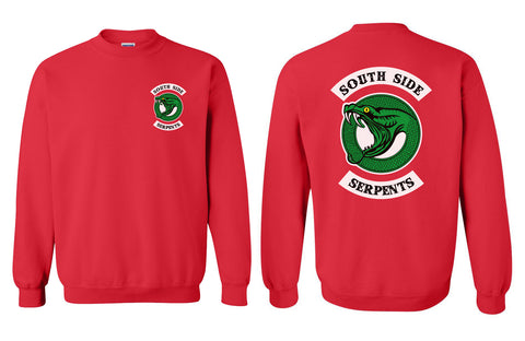 Teen Serpent South side Serpents Front and back Riverdale Unisex Crewneck Sweatshirt Red Adult