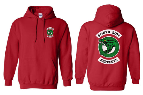 Teen Serpents, South Side Serpents front and back Riverdale Unisex Pullover Hoodie red