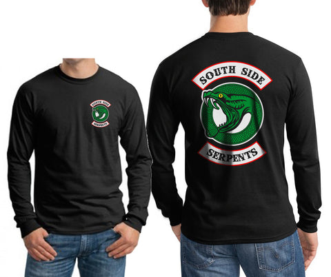 Teen Serpents Southside Serpents Front and back Riverdale Long Sleeve T-shirt for Men Black
