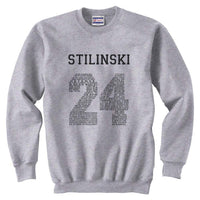 Stilinski 24 Font Black Ink on Front Beacon Hills Lacrosse Wolf Crewneck Sweatshirt Adult