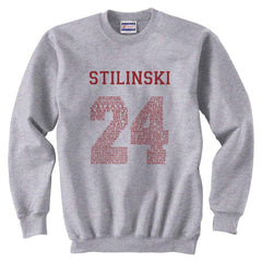 Stilinski 24 Font Maroon Ink on Front Beacon Hills Lacrosse Wolf Crewneck Sweatshirt - Meh. Geek - 1