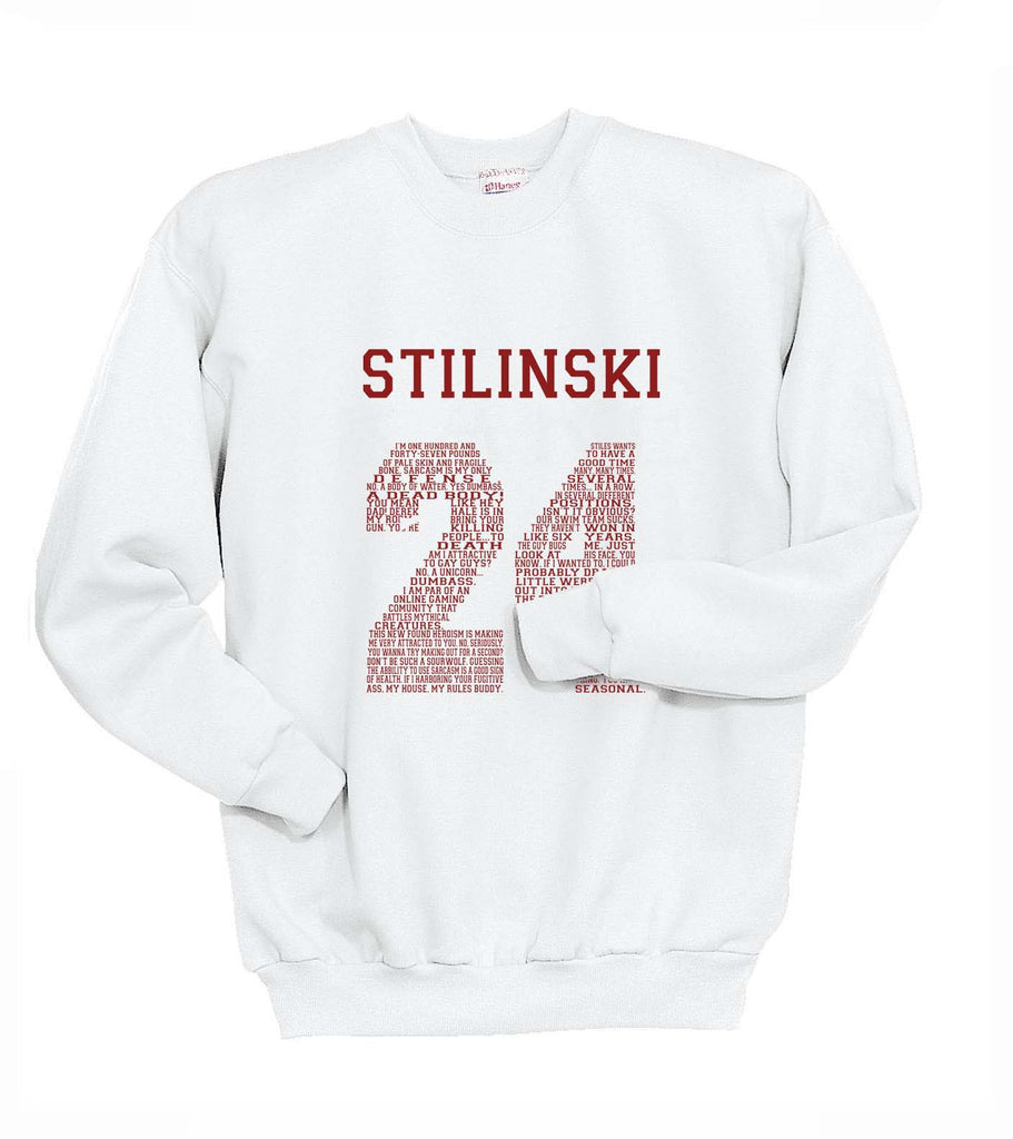 Stilinski 24 Font Maroon Ink on Front Beacon Hills Lacrosse Wolf Crewneck Sweatshirt - Meh. Geek - 2