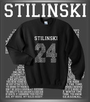 Stilinski 24 Font White Ink on Front Beacon Hills Lacrosse Wolf Crewneck Sweatshirt Adult