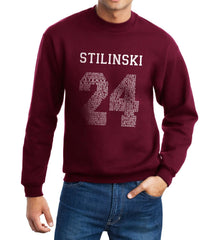 Stilinski 24 Font White Ink on Front Beacon Hills Lacrosse Wolf Crewneck Sweatshirt - Meh. Geek