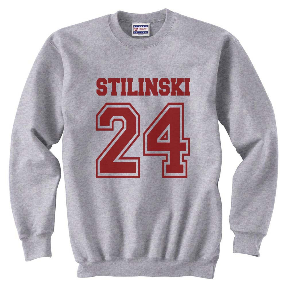 Stilinski 24 Maroon Ink on Front Beacon Hills Lacrosse Wolf Crewneck Sweatshirt - Meh. Geek
