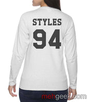 Styles 94 on BACK Harry Styles Long sleeve T-shirt for Women - Meh. Geek - 3