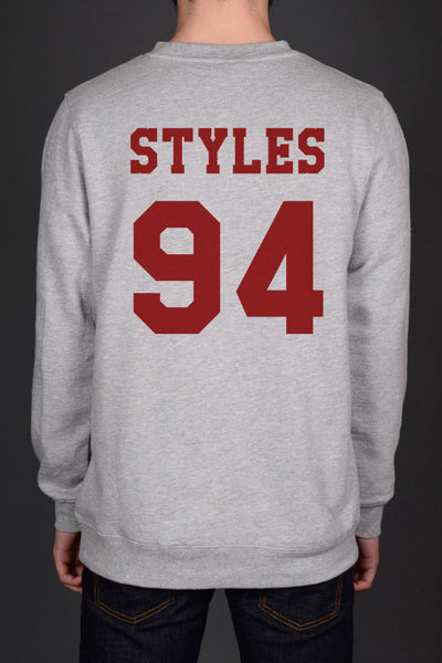 Styles 94 maroon Ink on Back Harry Styles Crewneck Sweatshirt - Meh. Geek