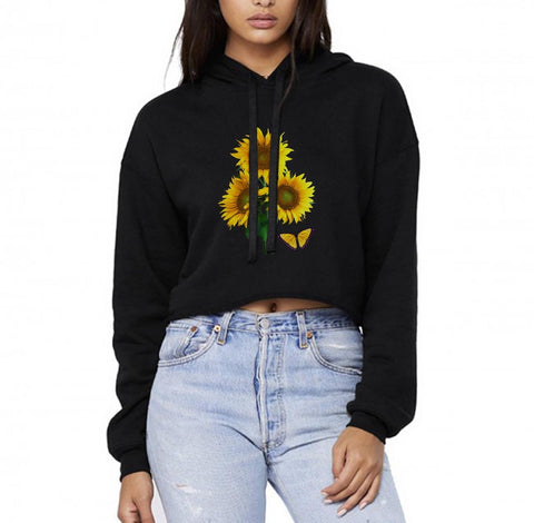 Sunflower Butterfly Cropped Hoodie