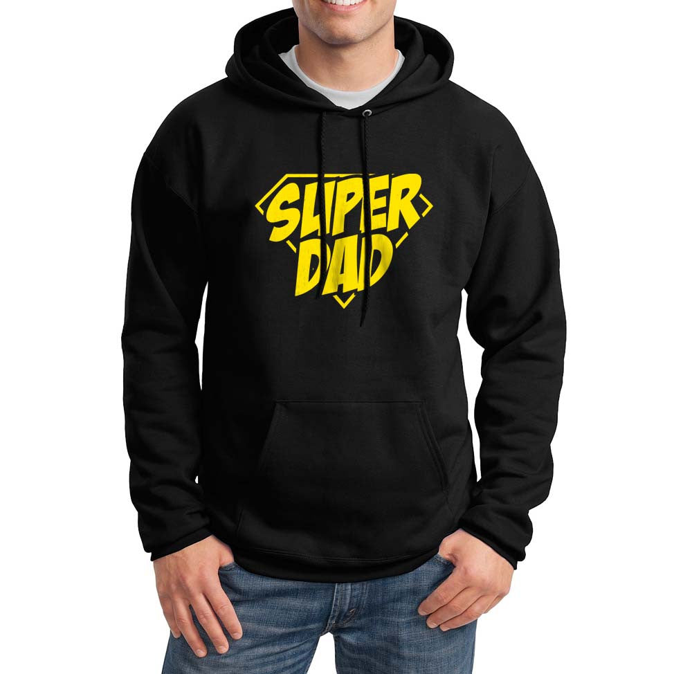 Super dad Yellow Ink Gift For Father Unisex Pullover Hoodie - Meh. Geek