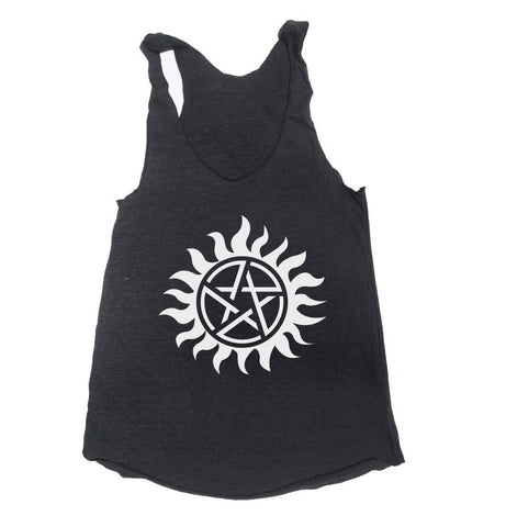 Supernatural Protection Symbol Triblend Racerback Women Tank Top