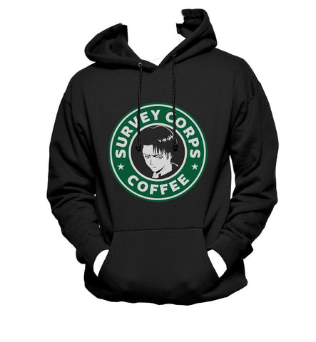 Survey Corps Coffee Levi Ackerman Unisex Pullover Hoodie Adult