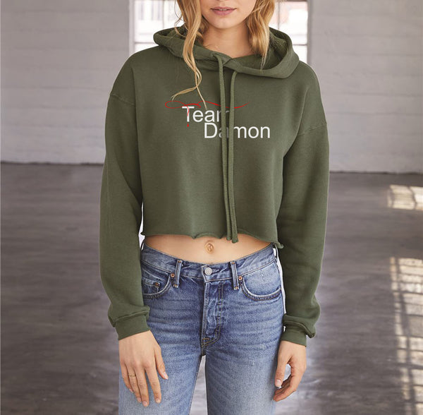 Team Damon Salvatore TVD Cropped Hoodie